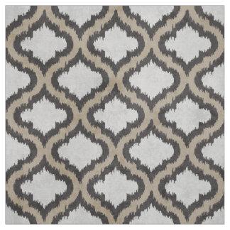 Cute neutral beige grey ikat Moroccan pattern Fabric