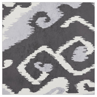 Cute neutral black grey white ikat tribal patterns fabric
