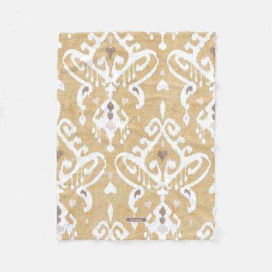 Cute neutral gold beige ikat tribal patterns fleece