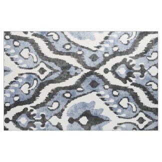 Cute neutral grey blue white ikat tribal patterns fabric