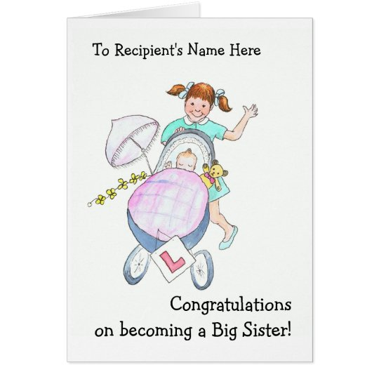 Cute New Baby Congratulations Card for Sister
