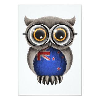 Cute New Zealand Flag Owl Wearing Glasses 9 Cm X 13 Cm Invitation Card