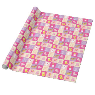 Cute newborn, Baby Girl Toys and clothes Collage Wrapping Paper