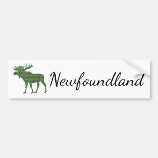 Cute Newfoundland moose tartan bumper sticker