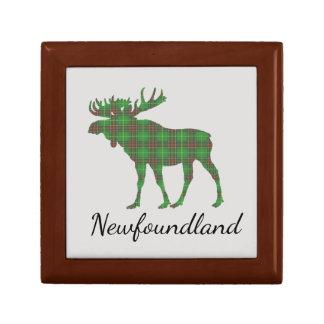 Cute Newfoundland moose tartan memory box Small Square Gift Box
