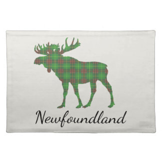 Cute Newfoundland moose tartan place mat