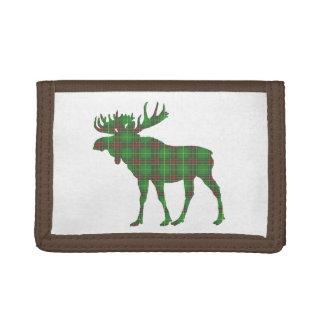 Cute Newfoundland tartan green moose wallet