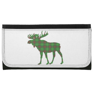 Cute Newfoundland tartan green moose wallet