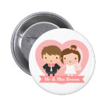 Cute Newlyweds Happily Married Couple 6 Cm Round Badge