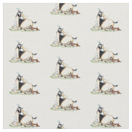 Cute Nigerian Dwarf Goat and Kids pattern Fabric