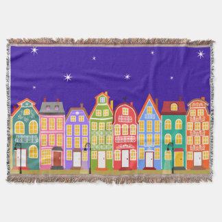Cute Night City Throw Blanket