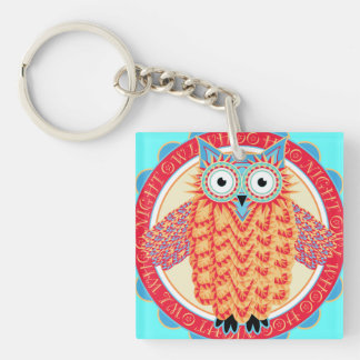Cute Night Owl Fun Brightly Colored Drawing Double-Sided Square Acrylic Key Ring