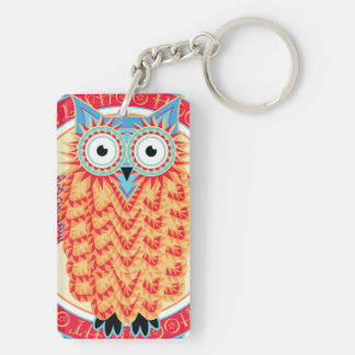 Cute Night Owl Fun Brightly Colored Drawing Double-Sided Rectangular Acrylic Key Ring