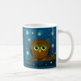 Cute night-time brown owl basic white mug