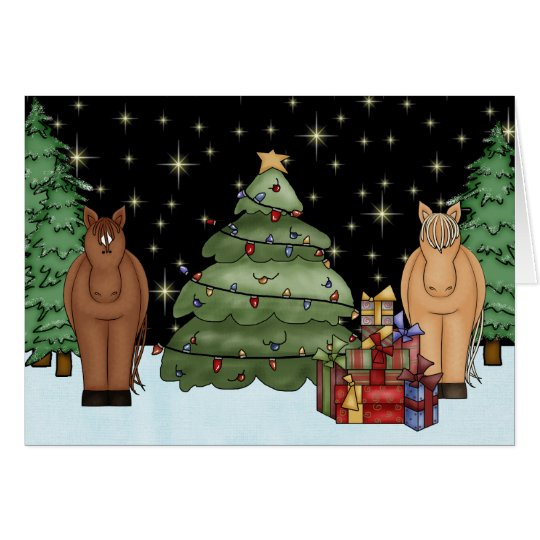 Cute Night-time Horses, Christmas Tree and Gifts Card