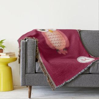 Cute Night Wise Owl Throw Blanket