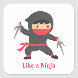 Cute Ninja Boy with Sai Weapons for Kids Square Sticker