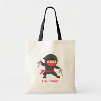 Cute Ninja Kid with Sai Weapons for Kids Tote Bag