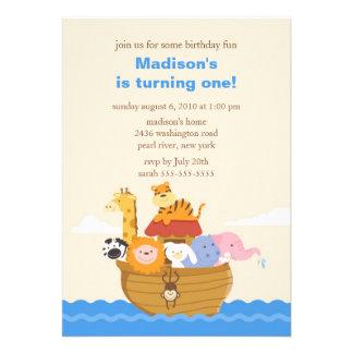 Cute Noah s Ark 1st Birthday Custom Announcements