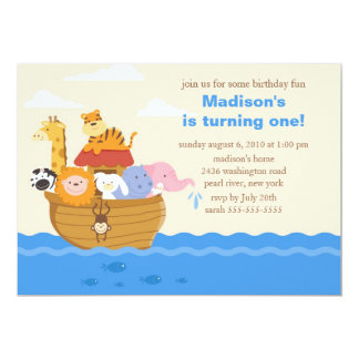 Cute Noah's Ark 1st Birthday 13 Cm X 18 Cm Invitation Card
