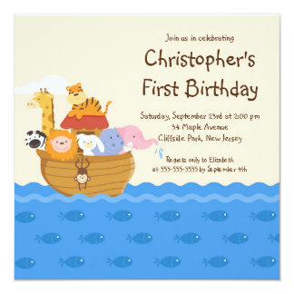 Cute Noah's Ark Baby Animals Birthday Party 13 Cm X 13 Cm Square Invitation Card