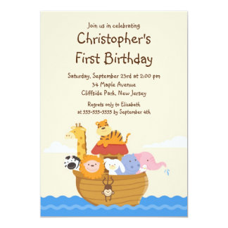Cute Noah's Ark Baby Animals Birthday Party 13 Cm X 18 Cm Invitation Card
