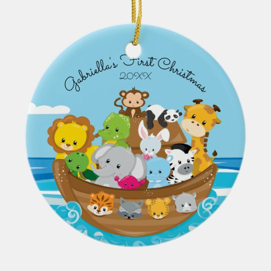 Cute Noah's Ark Baby's 1st Christmas Ornament