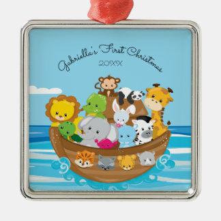 Cute Noah's Ark Baby's First Christmas Ornament