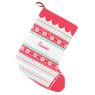 Cute Nordic Folk Holidays Mint Red Pattern Custom Small Christmas Stocking