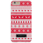 Cute Nordic Folk Holidays Red Pattern Custom Barely There iPhone 6 Plus Case