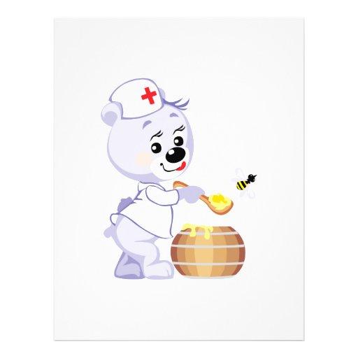cute nurse bear fetching honey flyers