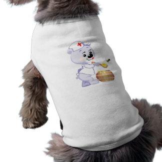cute nurse bear fetching honey sleeveless dog shirt