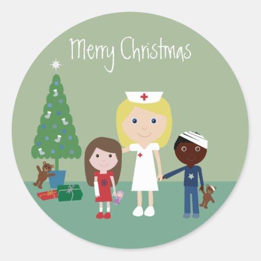 Cute Nurse, Kids & Christmas Tree Stickers