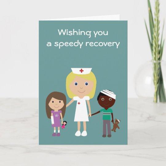 Cute Nurse Kids Get Well Soon Card Zazzle Co Uk