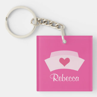 Cute Nurse Personalized Stocking Stuffer Grad Gift Single-Sided Square Acrylic Key Ring