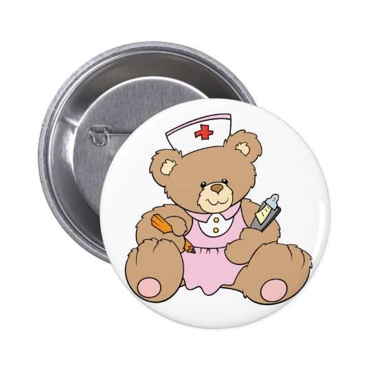Cute Nurse RN Bear 6 Cm Round Badge