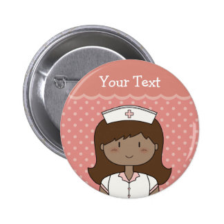 Cute nurse with dark hair 6 cm round badge