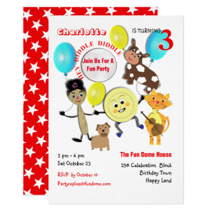 Cute Nursery Rhyme Cartoon Kids Birthday Invitation