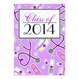 Cute Nursing School RN Purple Graduation Invite