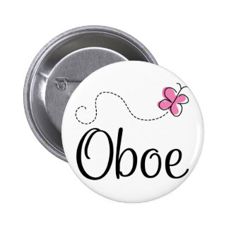 Cute Oboe Pink Butterfly 6 Cm Round Badge