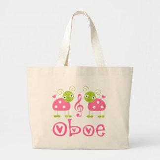 Cute Oboe Pink Ladybugs Large Tote Bag
