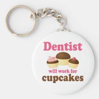 Cute Occupation Chocolate Cupcakes Dentist Basic Round Button Key Ring