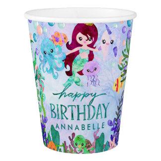 Cute Ocean Animals Mermaid Theme Happy Birthday Paper Cup