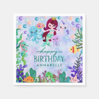 Cute Ocean Animals Mermaid Theme Happy Birthday Paper Napkin