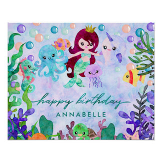 Cute Ocean Animals Mermaid Theme Happy Birthday Poster