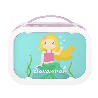 Cute Ocean Mermaid on Rock Personalized Lunchbox