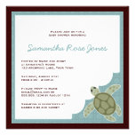 Cute Ocean Theme Baby Shower - Blue and Brown Custom Invites