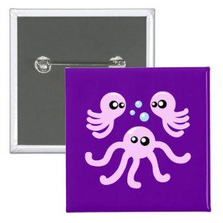 Cute Octopus 15 Cm Square Badge