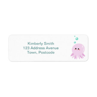 Cute octopus cartoon return address label