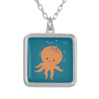Cute Octopus Cartoon Silver Plated Necklace